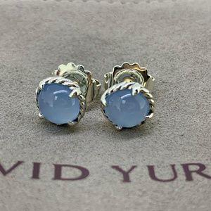 David Yurman Chatelaine Earrings Blue Chalcedony